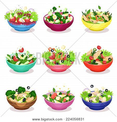 Various salads set, vegetable, fish and meat salad, healthy eating concept vector Illustrations on a white background