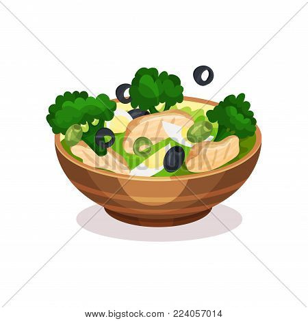 Mixed salad bowl, healthy eating concept vector Illustration on a white background