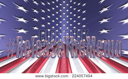 3D Illustration. Hash tag Release the memo in glass letters with an American flag background
