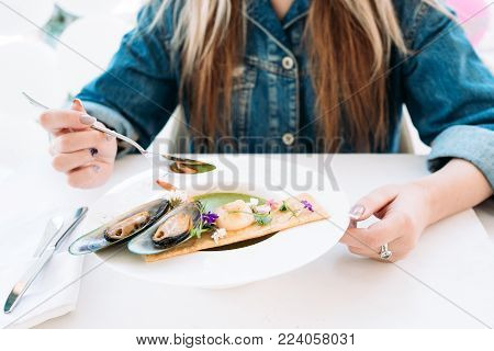 tasting restaurant healthy seafood concept. traditional kitchen. national cuisine. delicious delicacy.