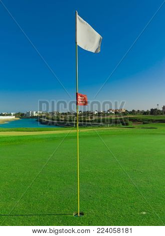 Golf Flag Stirred By The Wind