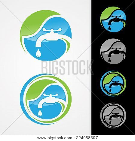 Eco plumbing company logo vector concept. Negative space style logo design. Simple and stylish logotype. Water drop with pipe and water faucet. Vector illustration EPS.8 EPS.10