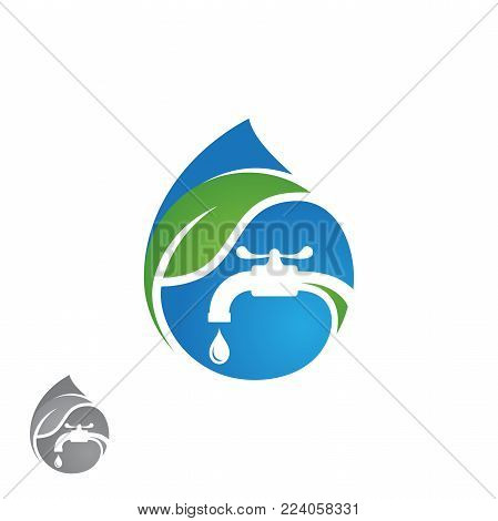 Water plumbing company logo vector concept. Negative space style logo design. Simple and stylish logotype. Water drop with pipe and water faucet. Vector illustration EPS.8 EPS.10