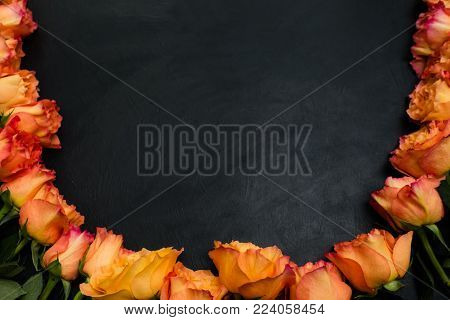 Orange and red autumn roses dark background. Symbol of deep feelings and elation. Negative space concept
