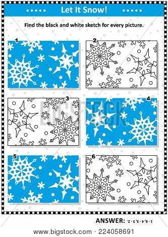 Visual puzzle: Find the black and white sketch for every picture of snowfall closeup. Answer included.