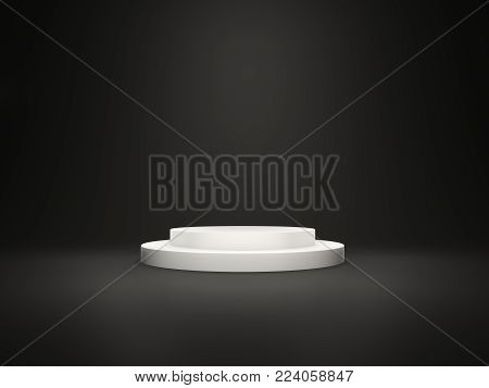 White empty pedestal with lights isolated on black background. 3D illustration
