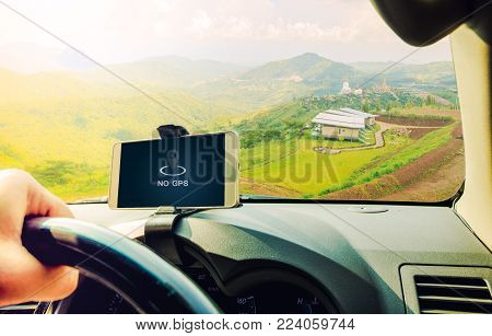 No signal cellphone network,No communication coverage,showing on the smart phone inside of a car