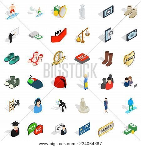 Operating icons set. Isometric set of 36 operating vector icons for web isolated on white background