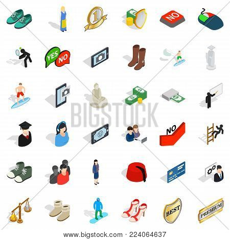 Current icons set. Isometric set of 36 current vector icons for web isolated on white background
