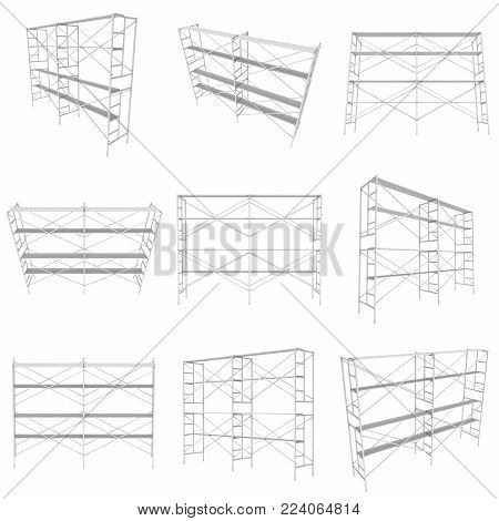 Scaffolding metal construction set isolated on white. 3d render illustration