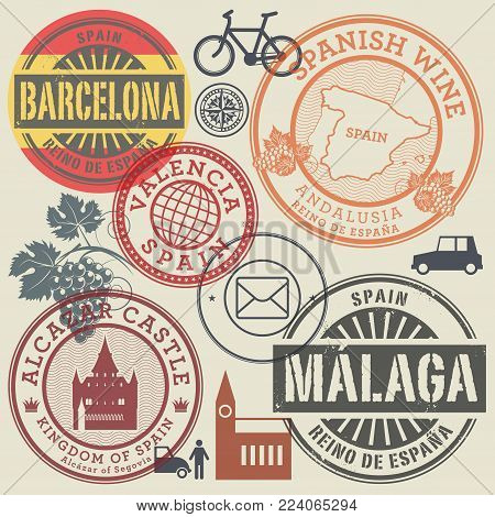 Travel stamps or symbols set Spain, Europe theme, vector illustration