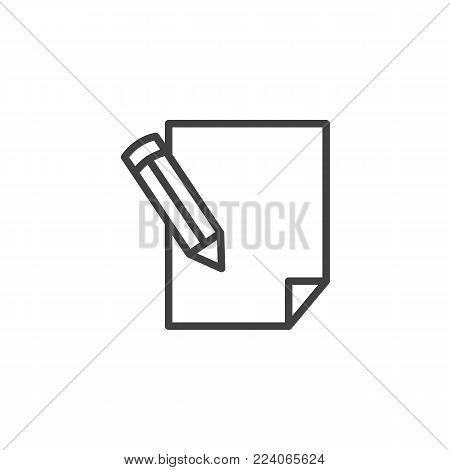 Pencil writing on paper sheet line icon, outline vector sign, linear style pictogram isolated on white. Write, sign symbol, logo illustration. Editable stroke