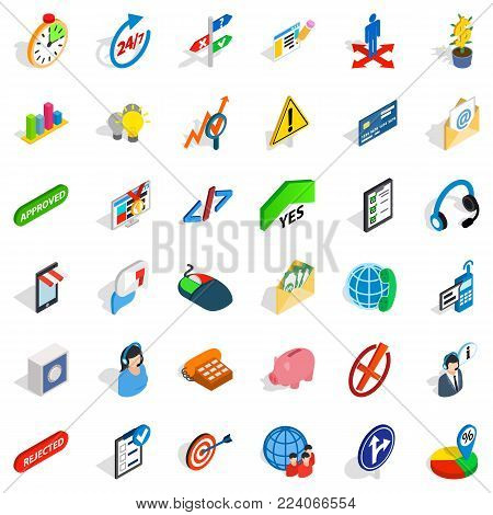 Ceos icons set. Isometric set of 36 ceos vector icons for web isolated on white background