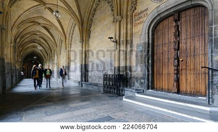 MAASTRICHT, NETHERLANDS - SEPTEMBER 8, 2013: People in the Basilica of Saint Servatius. The church is considered to be one of the most important religious buildings in the former Prince-Bishopric