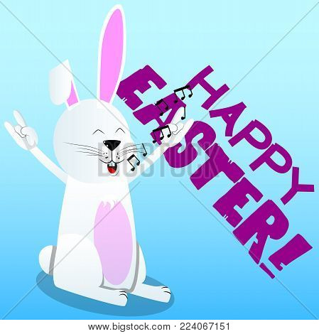 Easter bunny with hands in rocker pose. Vector cartoon character illustration.