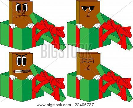 Books in a gift box. Cartoon book collection with angry faces. Expressions vector set.