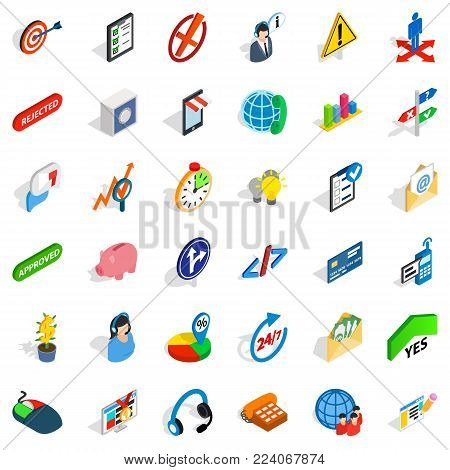 Commercial manager icons set. Isometric set of 36 commercial manager vector icons for web isolated on white background