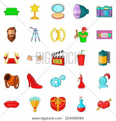 Shooting movie icons set. Cartoon set of 25 shooting movie vector icons for web isolated on white background