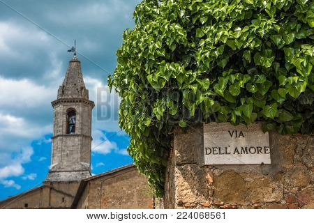 Via dell'Amore or Love Street in Pienza, Tuscany, Italy