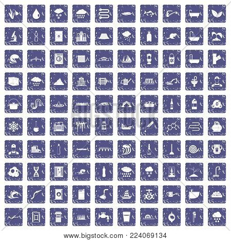 100 water supply icons set in grunge style sapphire color isolated on white background vector illustration