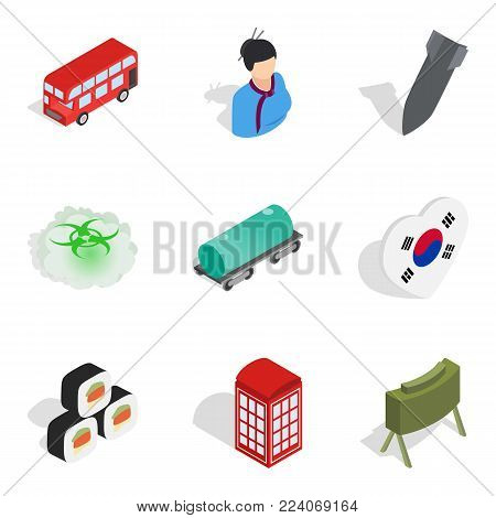Asian history icons set. Isometric set of 9 asian history vector icons for web isolated on white background