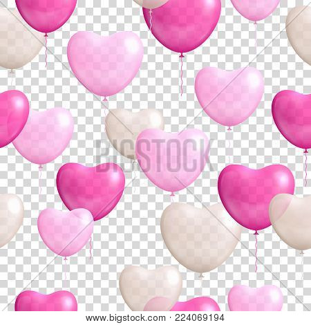 Heart shaped balloons transparent background seamless . Heart shaped balloons on a transparent background seamless for designers and illustrators. Gasbags template as a vector illustration
