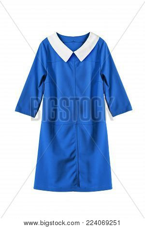Blue basic mini dress with white collar isolated over white