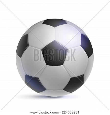 Soccer ball, realistic, isolated. Image of sports equipment for football players, fans and amateurs. Vector illustration of modern detailed football.