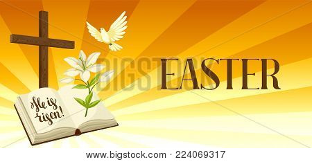 Silhouette of wooden cross with bible, lily and dove. Happy Easter concept illustration or greeting card. Religious symbols of faith against sunrise sky.