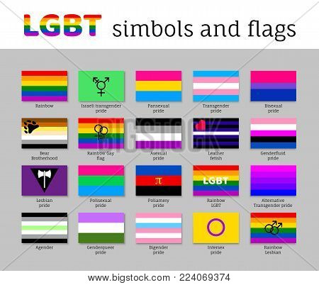 Set symbols, flags lgbt movement, flat icon. Collection of signs for people of different sexual orientations. Vector illustration of a collection of elements