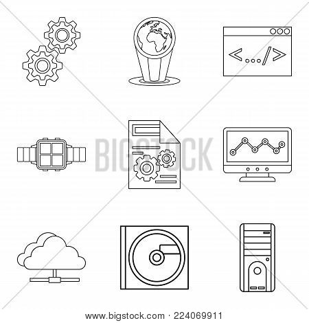Upgrade tech icons set. Outline set of 9 upgrade tech vector icons for web isolated on white background