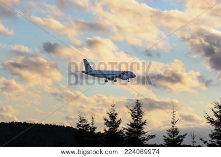 St. Petersburg, Russia - 21 June, The plane is landing, 21 June, 2016. Takeoff and landing of aircraft at the airport in St. Petersburg, Pulkovo.
