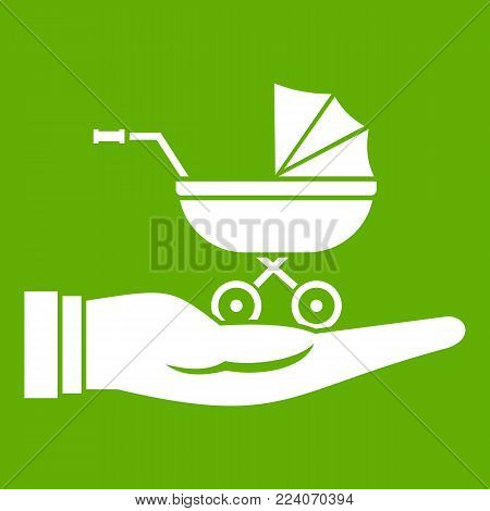 Baby pram protection icon white isolated on green background. Vector illustration