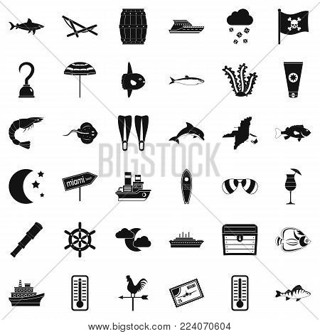 Marine environment icons set. Simple set of 36 marine environment vector icons for web isolated on white background