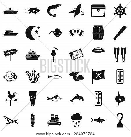 Sea environment icons set. Simple set of 36 sea environment vector icons for web isolated on white background