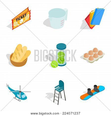 Elite hobby icons set. Isometric set of 9 elite hobby vector icons for web isolated on white background
