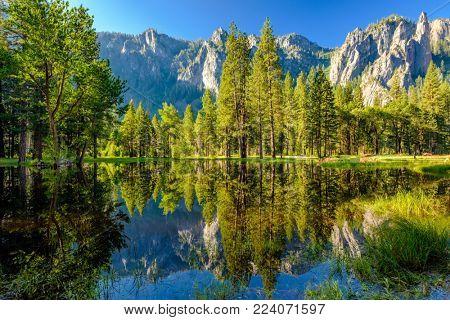 Cathedral Rocks reflecting in Merced River at Yosemite National Park. California, USA.