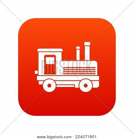 Locomotive icon digital red for any design isolated on white vector illustration