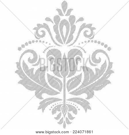 Oriental vector light pattern with arabesques and floral elements. Traditional classic ornament. Vintage pattern with arabesques