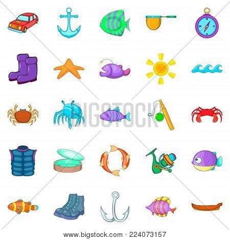 Hook icons set. Cartoon set of 25 hook vector icons for web isolated on white background