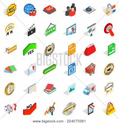 Barter icons set. Isometric set of 36 barter vector icons for web isolated on white background