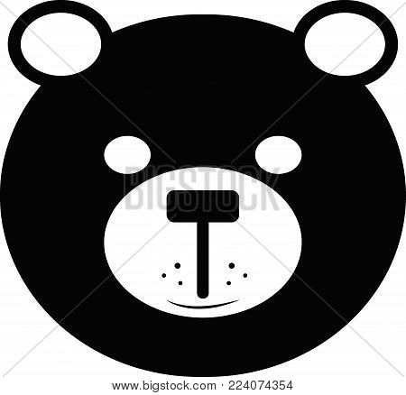 bear icon, bear logo, black lovely bear