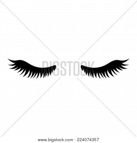 Eyelash. Close eyes. Cute eyelashes. Icon for web. Vector illustration isolated on white background.