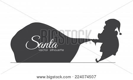 Vector illustration: Design template of banner with Silhouette of Santa Claus pulls a heavy bag full of gifts. Cartoon scene. Handwritten lettering of Merry Christmas.