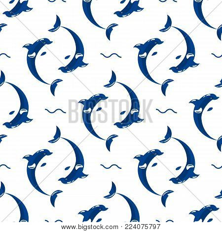 Cute dolphins aquatic marine nature ocean blue mammal sea water wildlife animal vector illustration. Swimming fish underwater beautiful seamless pattern tropical flipper dolphins.