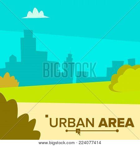 Urban Area Vector. City Area Street View. Downtown City. Flat Cartoon Illustration
