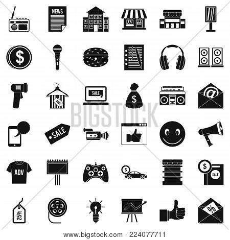 Merchandise icons set. Simple set of 36 merchandise vector icons for web isolated on white background poster