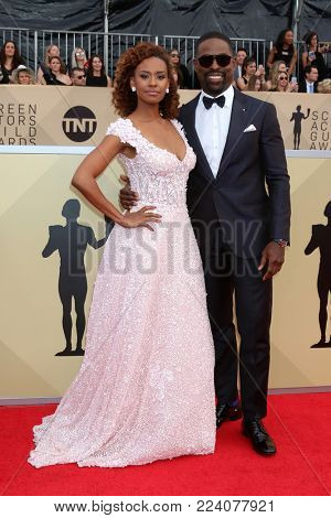 LOS ANGELES - JAN 21:  Ryan Michelle Bathe, Sterling K Brown at the 24th Screen Actors Guild Awards - Press Room at Shrine Auditorium on January 21, 2018 in Los Angeles, CA