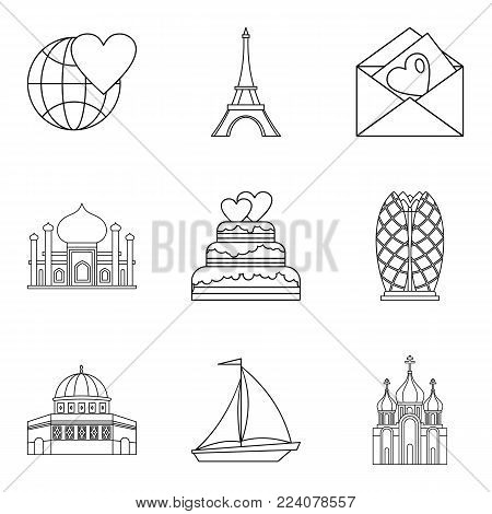 Newlywed icons set. Outline set of 9 newlywed vector icons for web isolated on white background