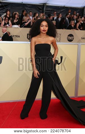 LOS ANGELES - JAN 21:  Yara Shahidi at the 24th Screen Actors Guild Awards - Press Room at Shrine Auditorium on January 21, 2018 in Los Angeles, CA